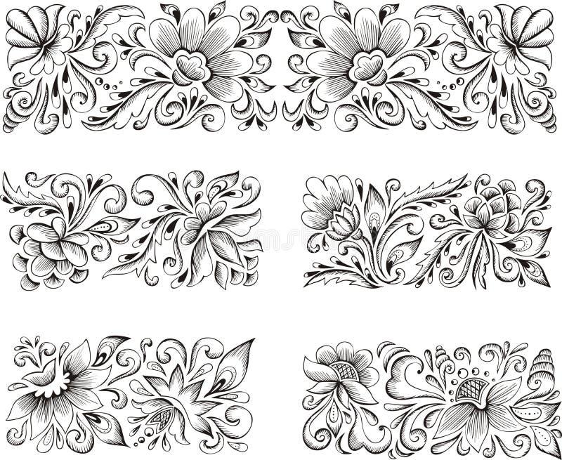 Testes padrões de flor simétricos ilustração royalty free