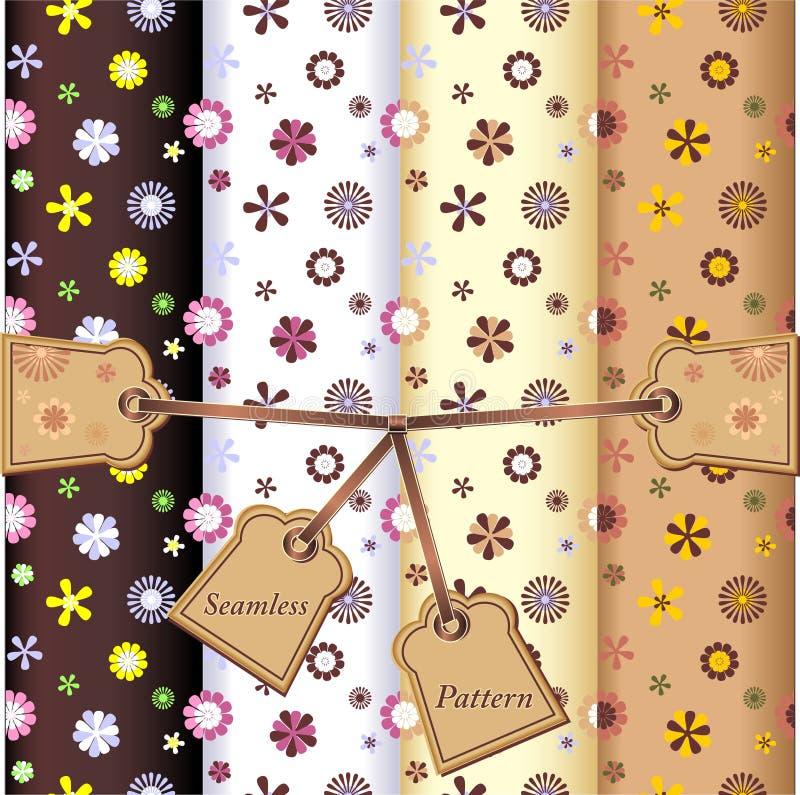 Testes padrões de flores sem emenda ajustados ilustração stock