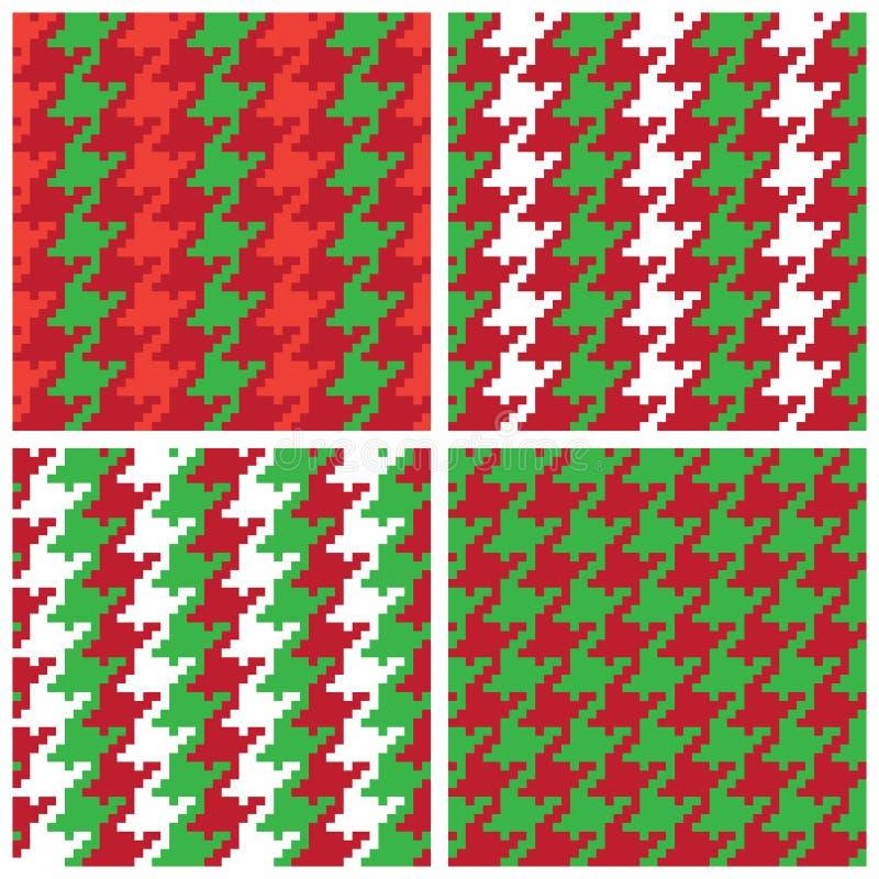 Testes padrões de Houndstooth do pixel do Natal ilustração stock