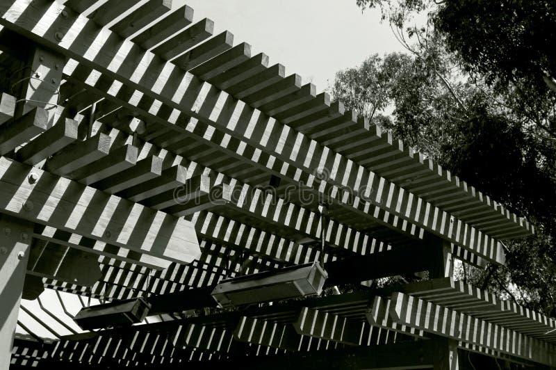 Testes padrões de madeira da sombra do telhado, UCSD foto de stock royalty free