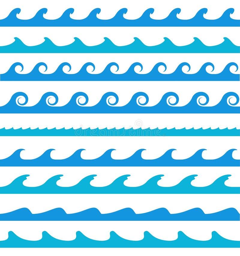 Testes padrões de onda azuis no fundo branco ilustração do vetor