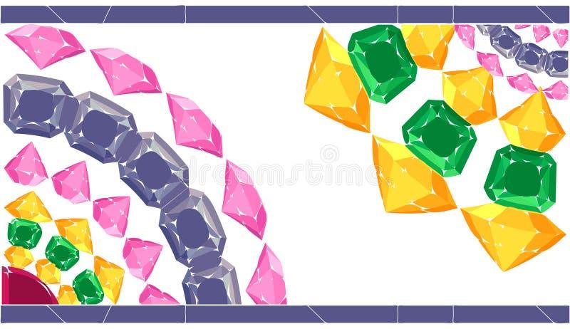 Testes padrões de pedras preciosas Cartão com beira ilustração do vetor
