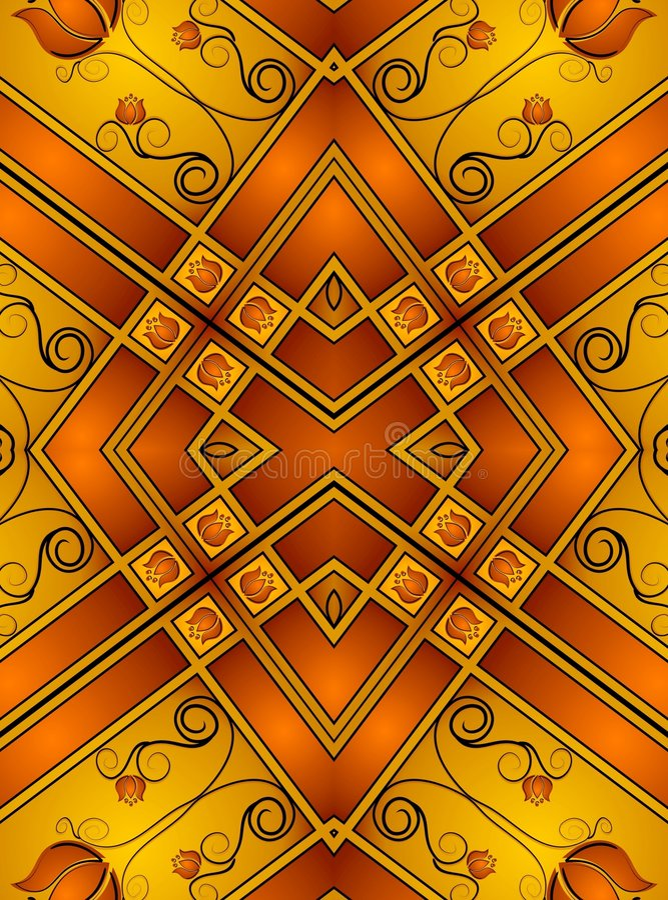 Testes padrões decorativos 2 do ouro ilustração do vetor
