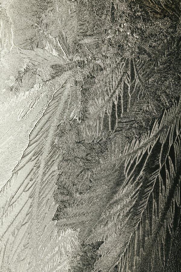 Testes padrões do gelo no vidro imagens de stock royalty free