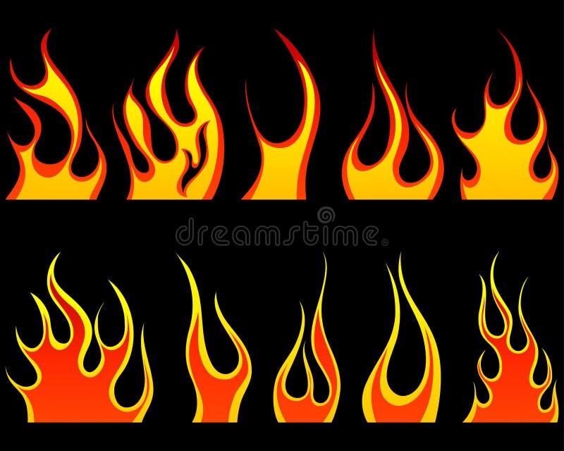 Testes padrões do incêndio ajustados ilustração do vetor