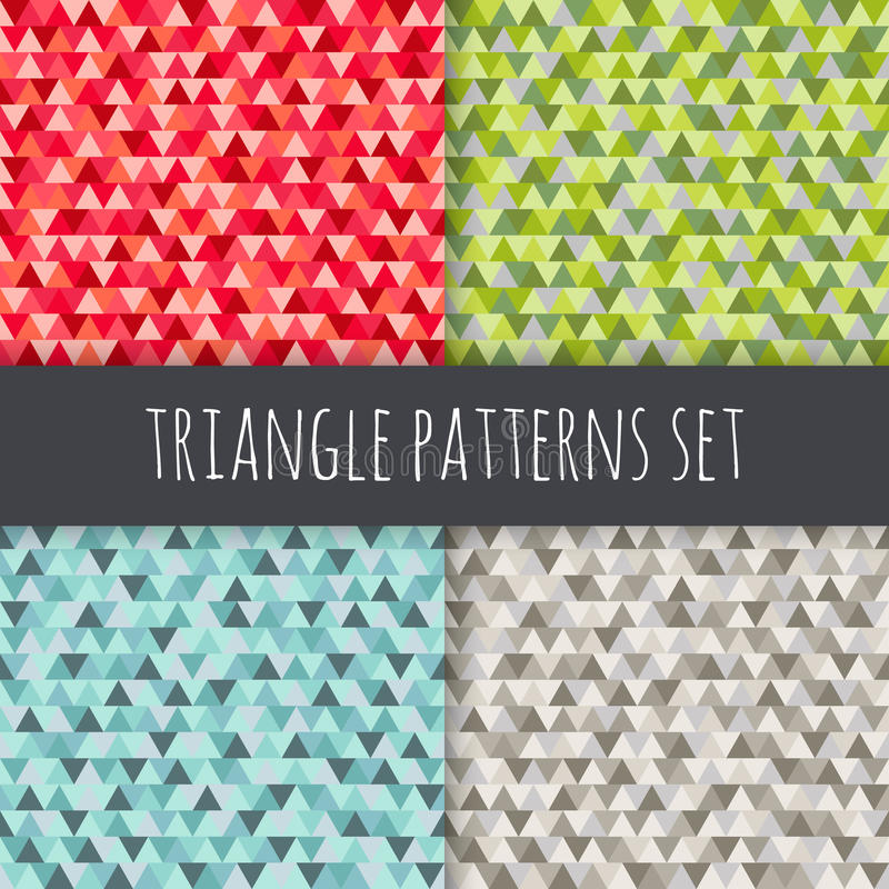 Testes padrões do triângulo ajustados Fundos geométricos sem emenda do vetor vermelho, azul, verde, cinzento, marrom ilustração do vetor