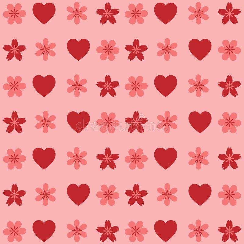 Testes padrões do Valentim Corações e flor no fundo cor-de-rosa ilustração do vetor