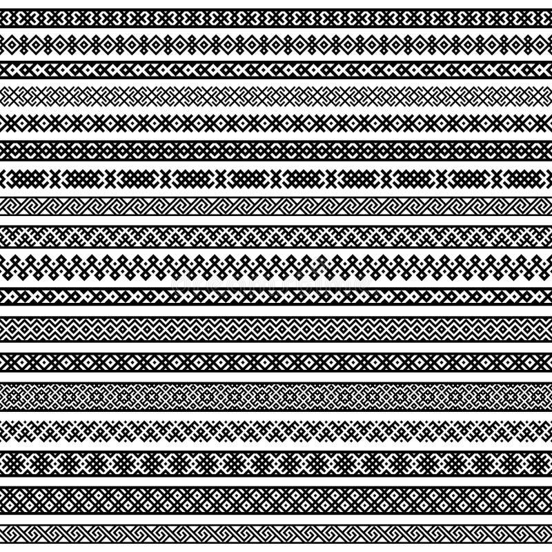 Testes padrões dos elementos da decoração da beira em cores preto e branco Graphhics do vetor ilustração royalty free