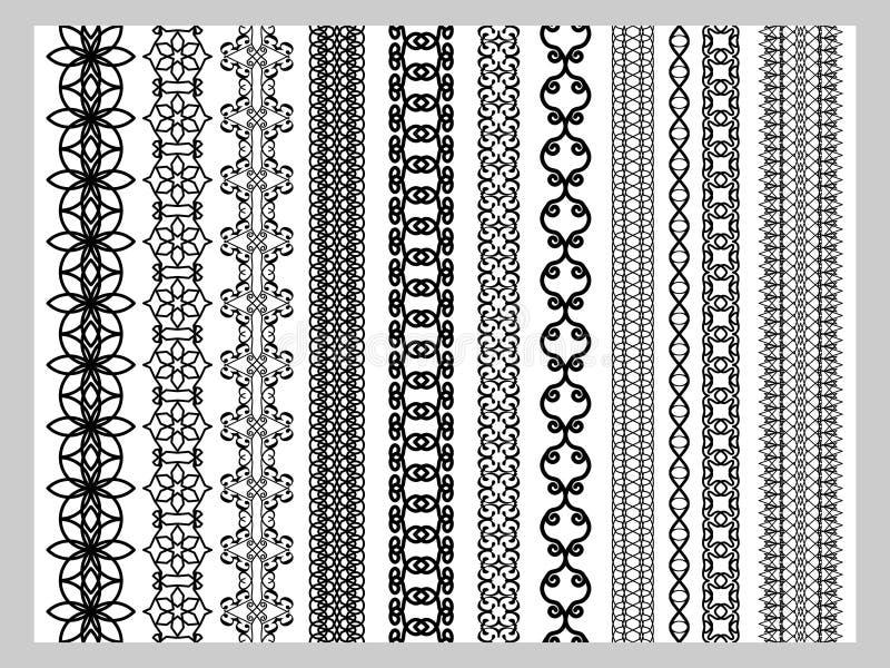 Testes padrões dos elementos da decoração de Henna Border do indiano ilustração stock
