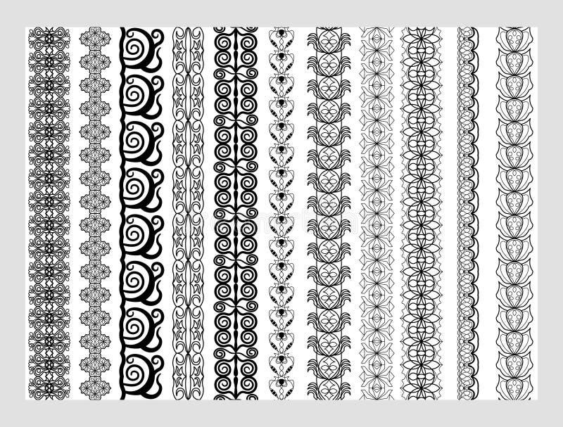 Testes padrões dos elementos da decoração de Henna Border do indiano em cores preto e branco ilustração stock