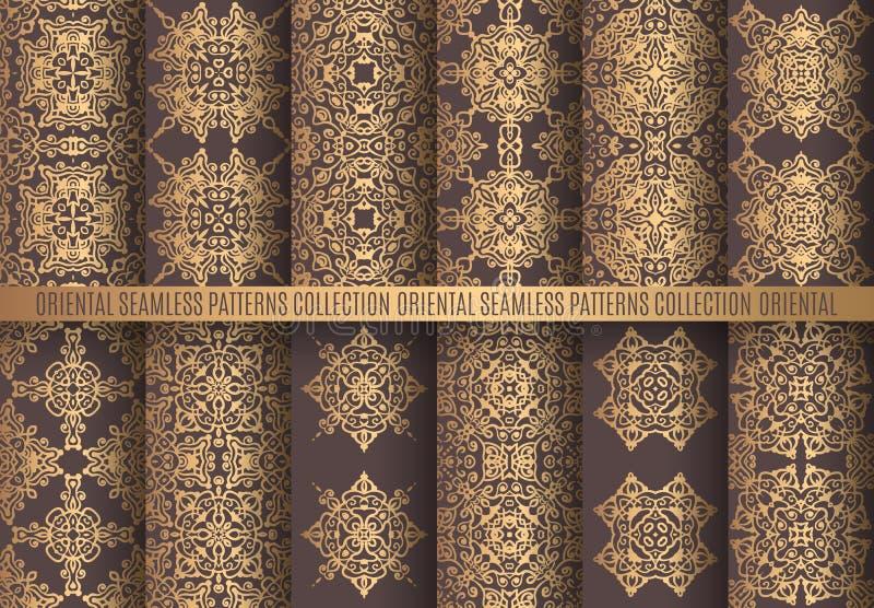Testes padrões dourados do Arabesque ilustração royalty free
