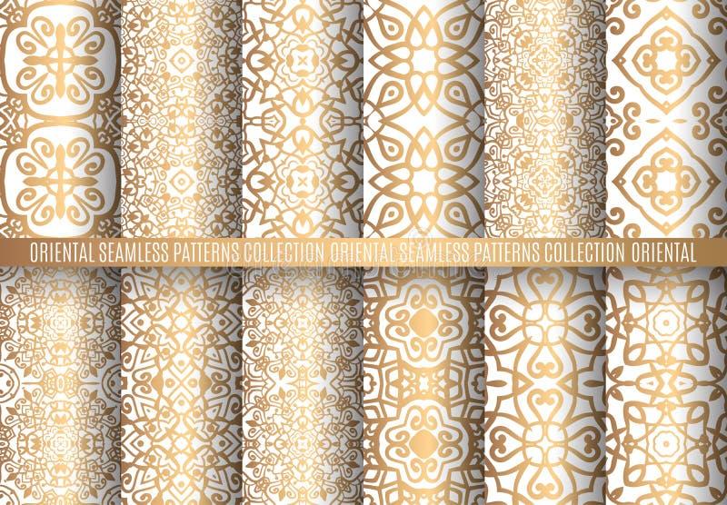 Testes padrões dourados do Arabesque ilustração stock