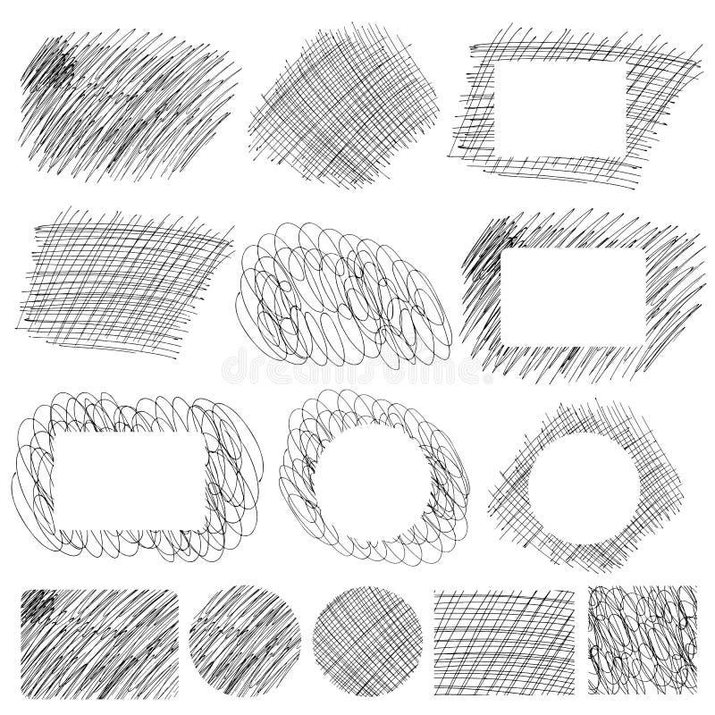 Testes padrões e bandeiras simples tirados mão do risco ilustração stock