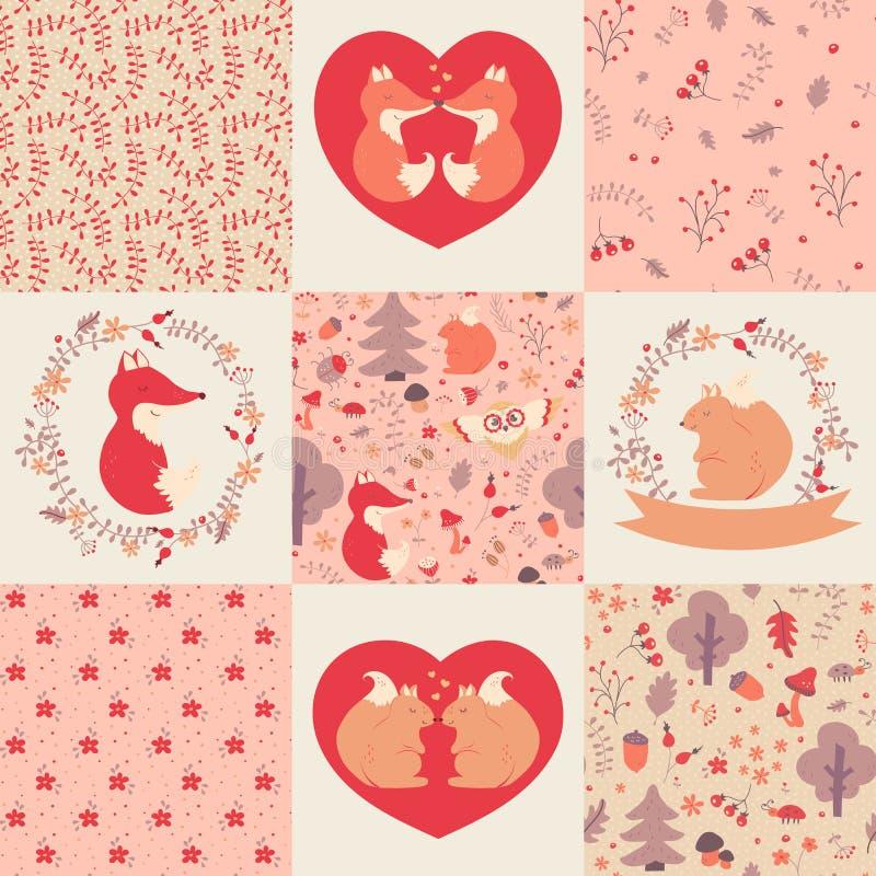 Testes padrões e ilustrações do bebê Coleção do vetor ilustração stock