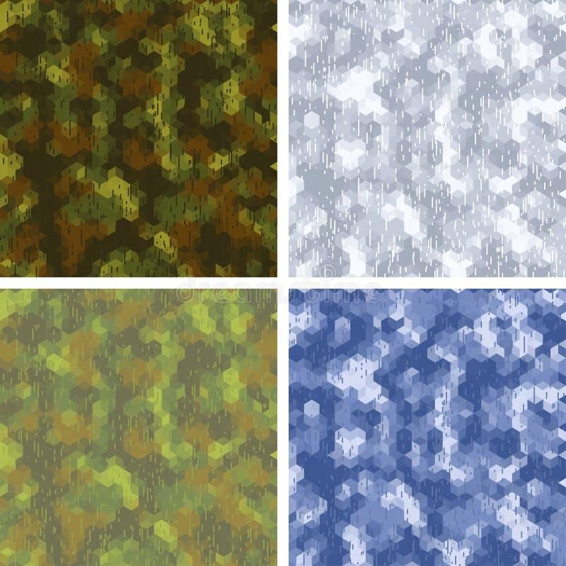 Testes padrões estilizados sem emenda da camuflagem com ilustração stock