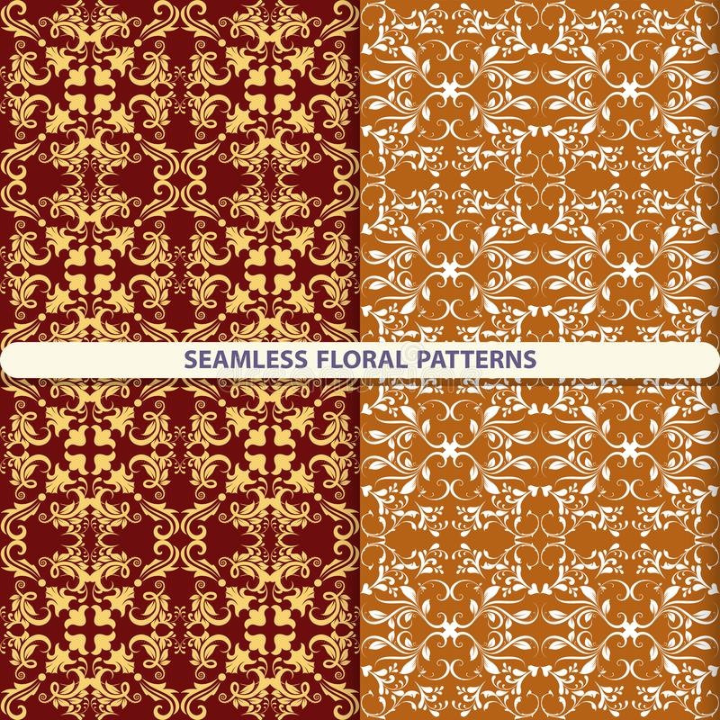 Testes padrões florais sem emenda com elementos florais e botânicos Textura da flor cópia para matérias têxteis, projeto do papel ilustração stock