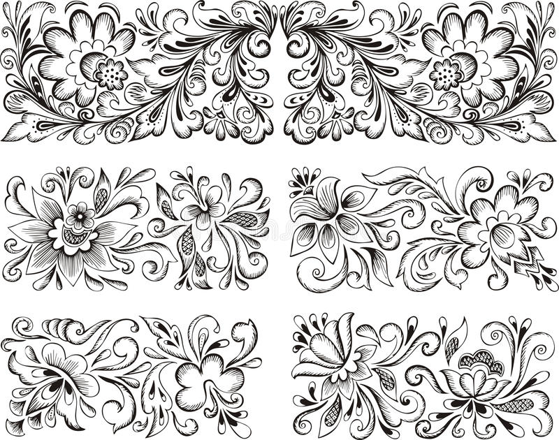 Testes padrões florais simétricos ilustração royalty free