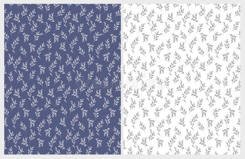 Testes padrões florais tirados mão do vetor Branco delicado e Gray Twigs em fundos azuis e brancos ilustração do vetor