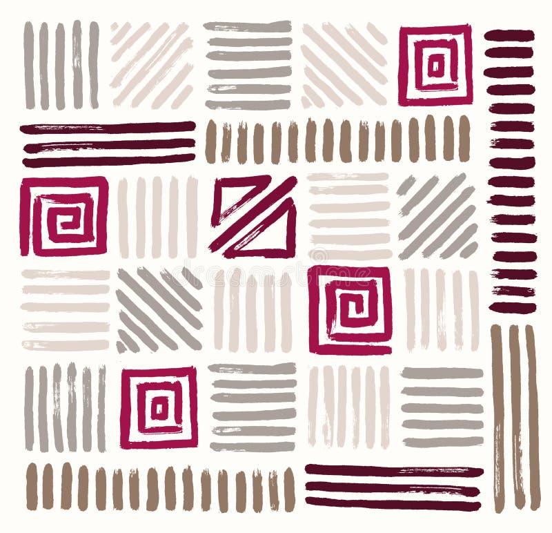 Testes padrões geométricos pintados tirados mão Ilustração do vetor ilustração royalty free