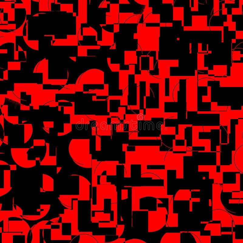 Testes padrões geométricos pretos e vermelhos brilhantes escuros ilustração royalty free
