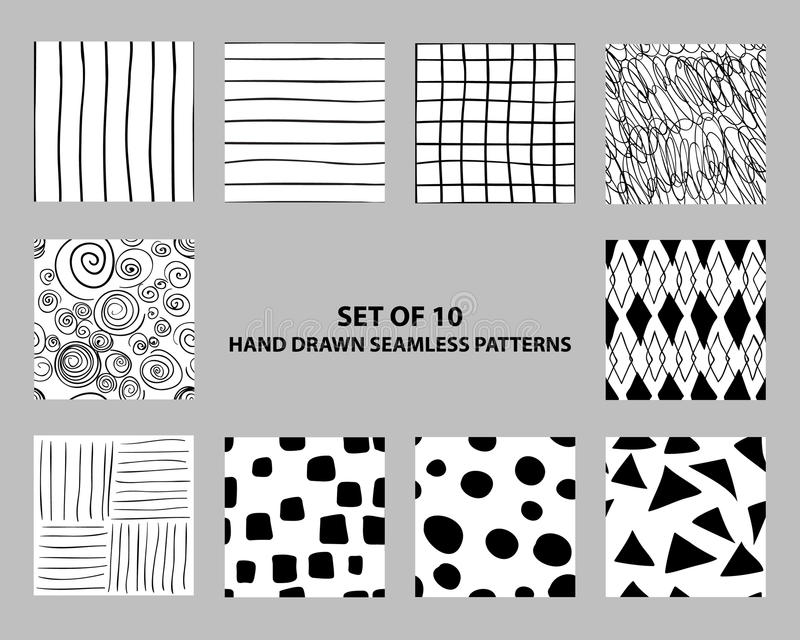 Testes padrões geométricos sem emenda tirados mão ilustração royalty free
