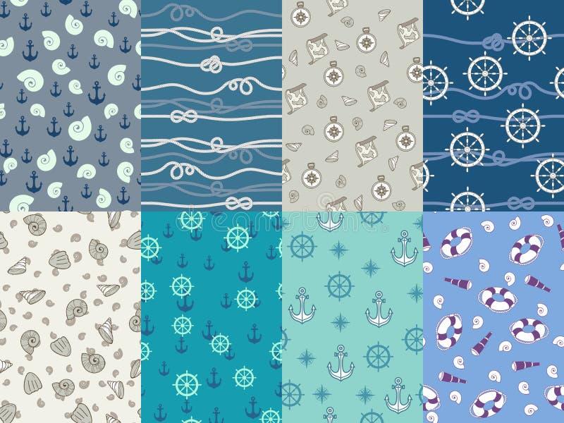 Testes padrões marinhos Âncora da marinha, textura azul do mar e grupo sem emenda do vetor do teste padrão do compasso náutico do ilustração do vetor