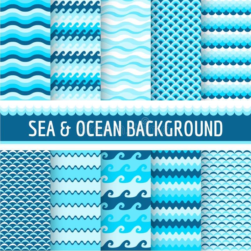 Testes padrões náuticos do mar ilustração do vetor