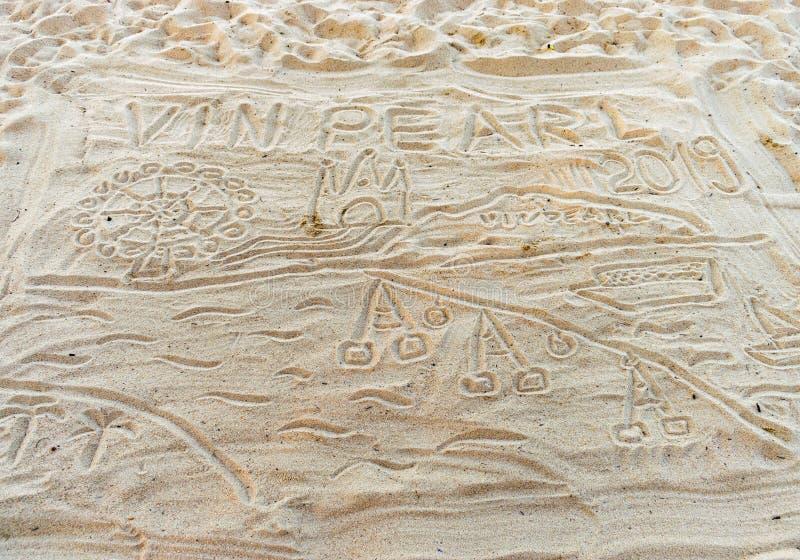 Testes padrões na areia na praia em Vietname imagens de stock