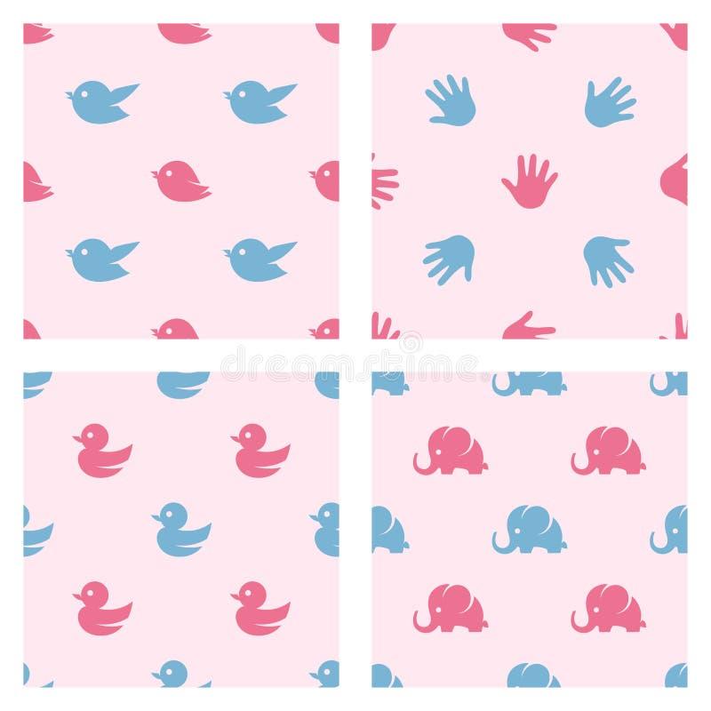 Testes padrões relacionados da festa do bebê Pássaros, pato ilustração stock