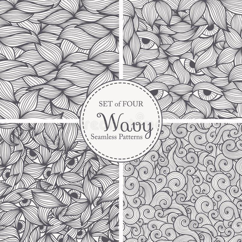 Testes padrões sem emenda abstratos com espirais, folhas e olhos ilustração royalty free