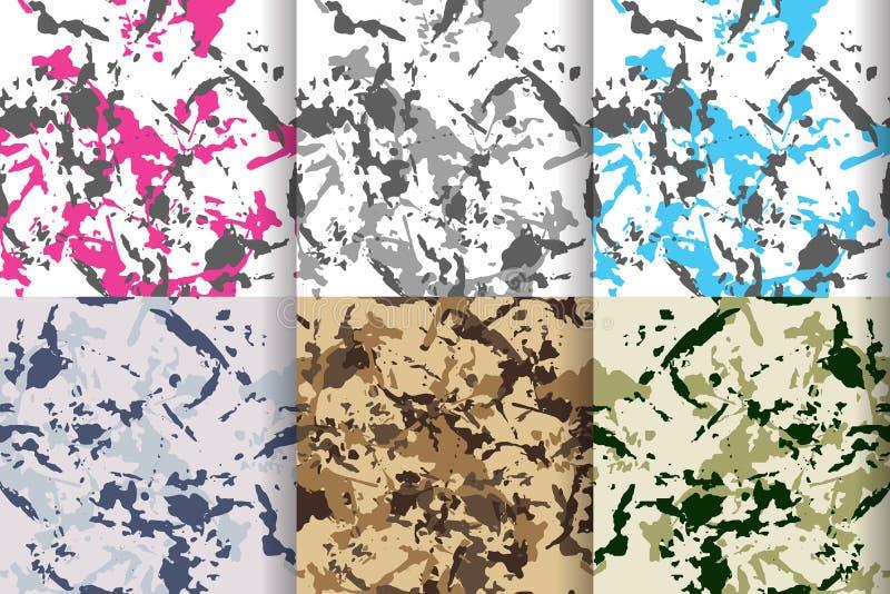 Testes padrões sem emenda ajustados, coleção grande da camuflagem ilustração do vetor
