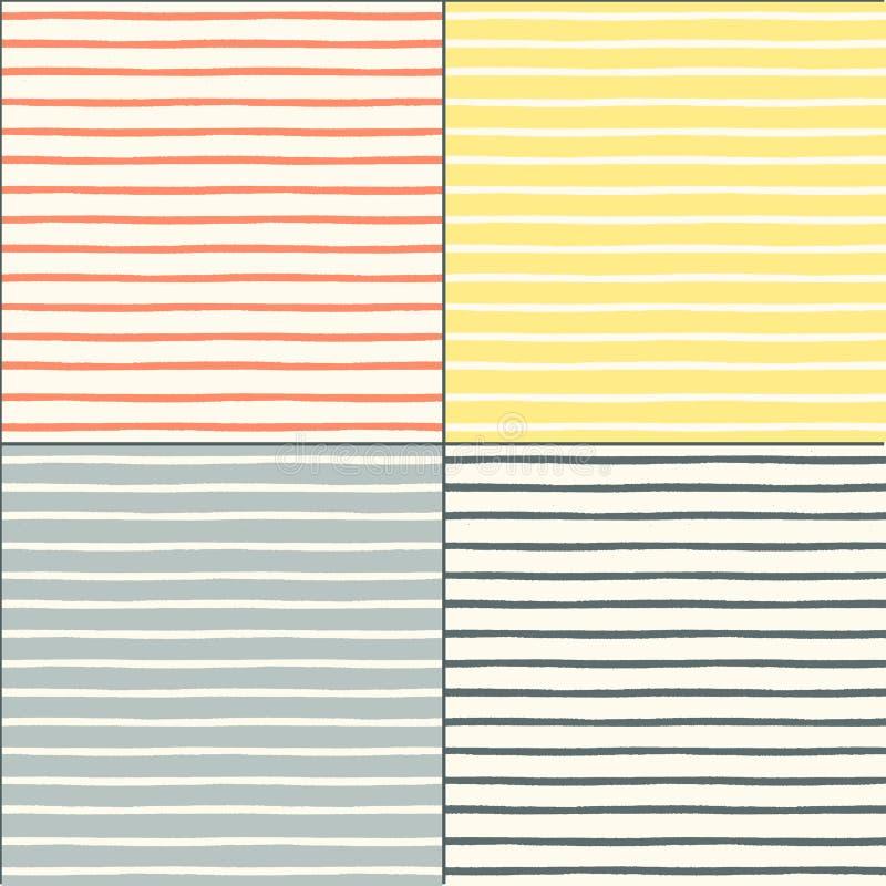 Testes padrões sem emenda ajustados com listras pintadas ilustração stock