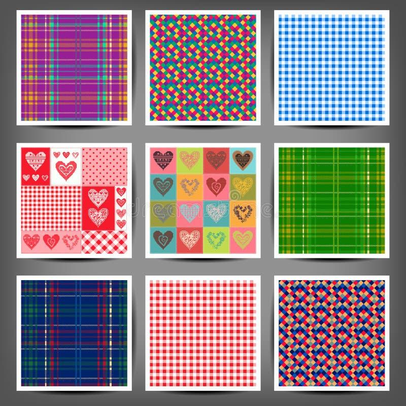 Testes padrões sem emenda ajustados dos corações e dos quadrados ilustração royalty free