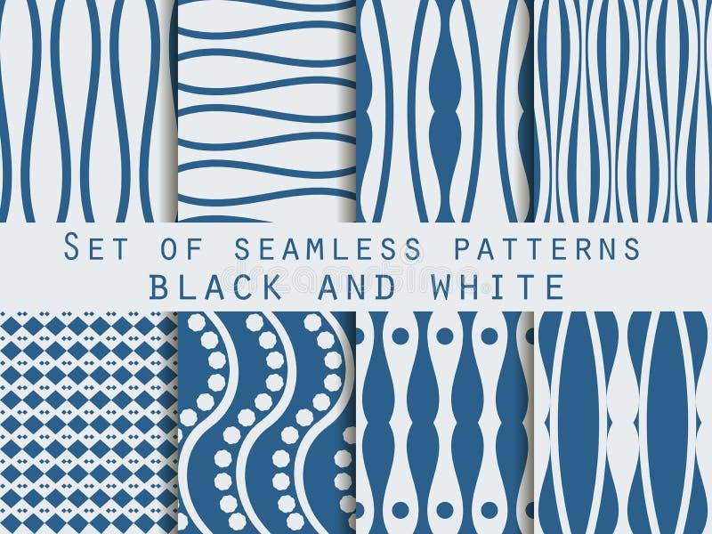 Testes padrões sem emenda ajustados O teste padrão das linhas O teste padrão para o papel de parede, telhas, telas, fundos ilustração do vetor