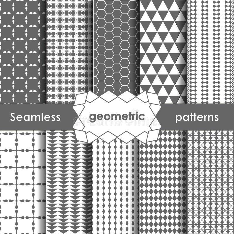 Testes padrões sem emenda cinzentos geométricos do vetor ajustados ilustração stock