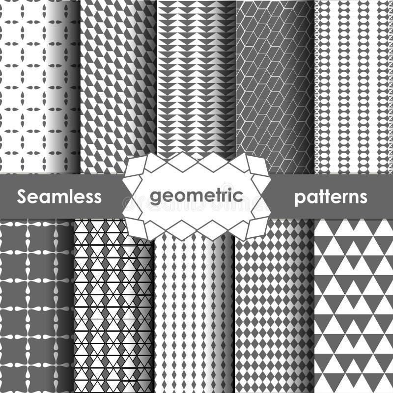 Testes padrões sem emenda cinzentos geométricos do vetor ajustados ilustração do vetor