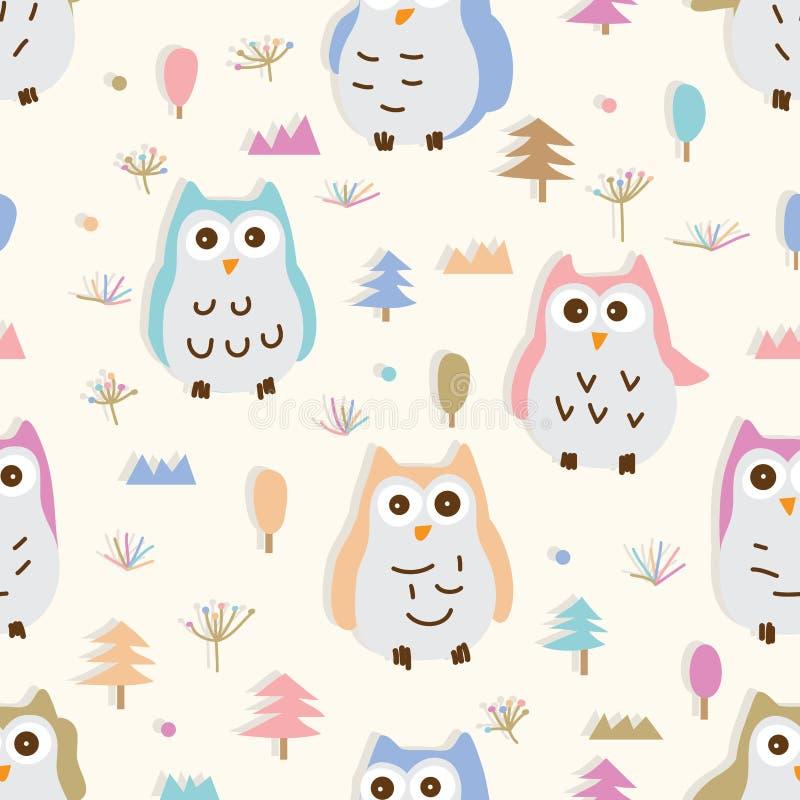 Testes padrões sem emenda colorido pastel do estilo da coruja seis ilustração stock