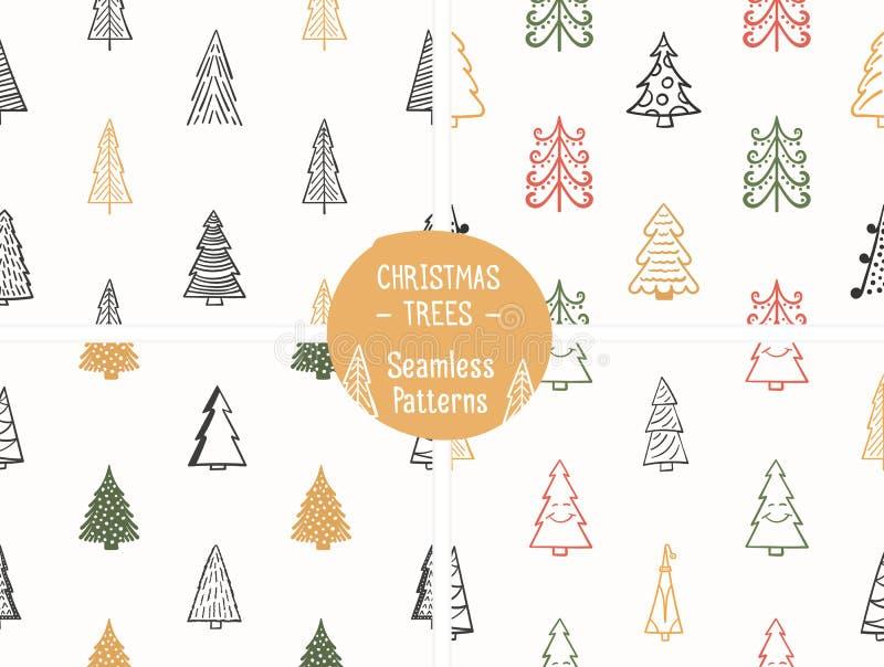Testes padrões sem emenda com árvores de Natal ilustração stock