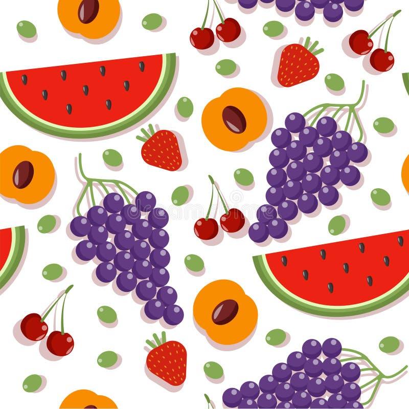 Testes padrões sem emenda com bagas e frutos diferentes ilustração stock