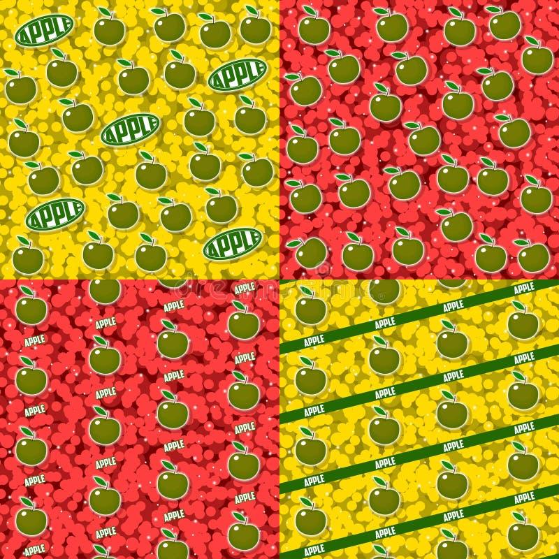 Testes padrões sem emenda com frutos grupo de 4 elementos ilustração royalty free