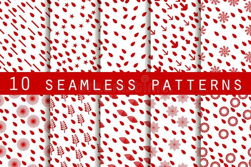 10 testes padrões sem emenda com gotas O teste padrão para o papel de parede, as telhas, as telas e os projetos Vetor ilustração royalty free