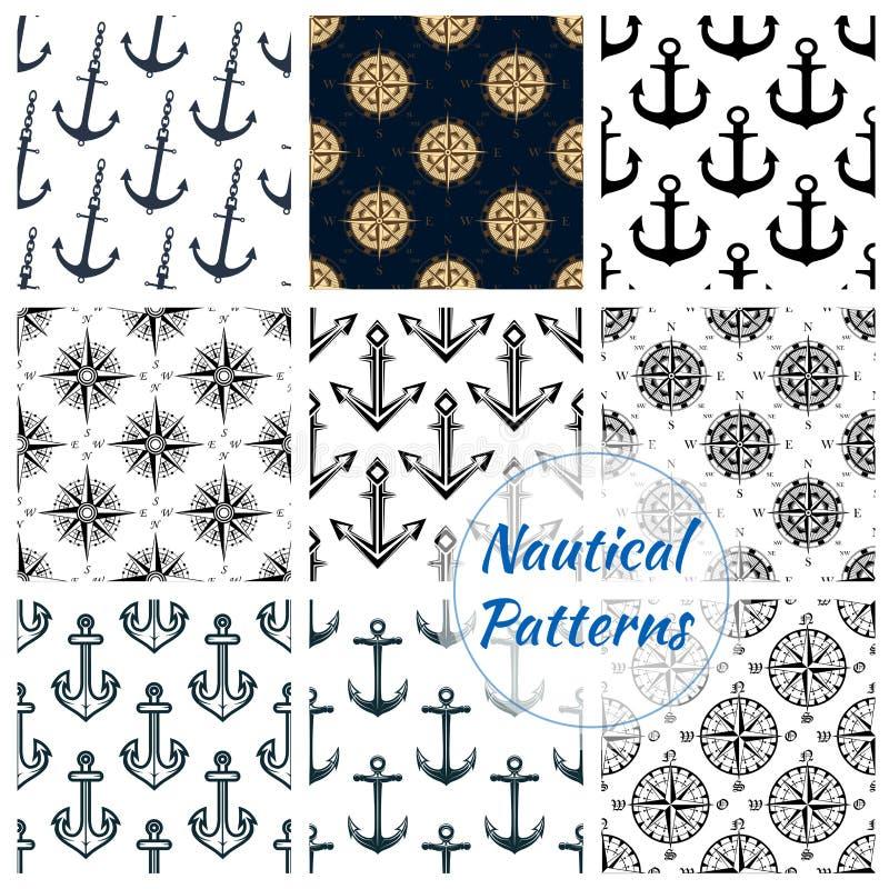 Testes padrões sem emenda da marinha heráldica náutica ajustados ilustração stock