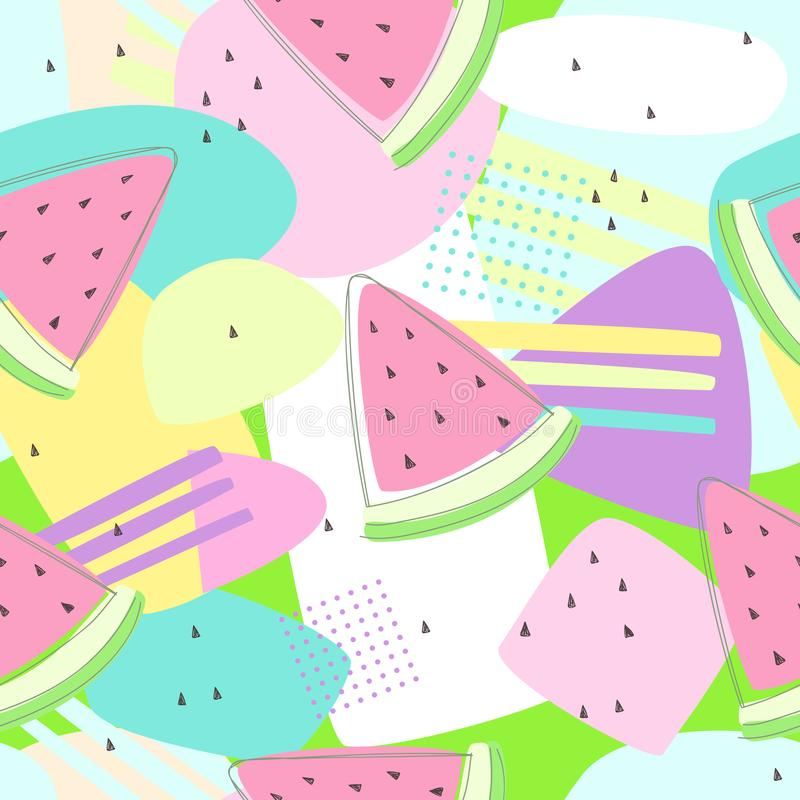 Testes padrões sem emenda da melancia no fundo colorido ilustração do vetor