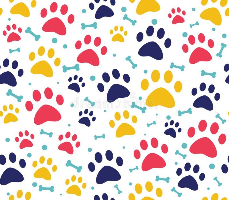 testes padrões sem emenda da pata do gato ou do cão fundos para Web site e cópias da loja de animais de estimação Pegada animal ilustração do vetor