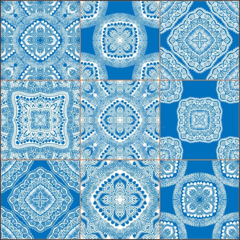 Testes padrões sem emenda das telhas geométricas ajustados foto de stock