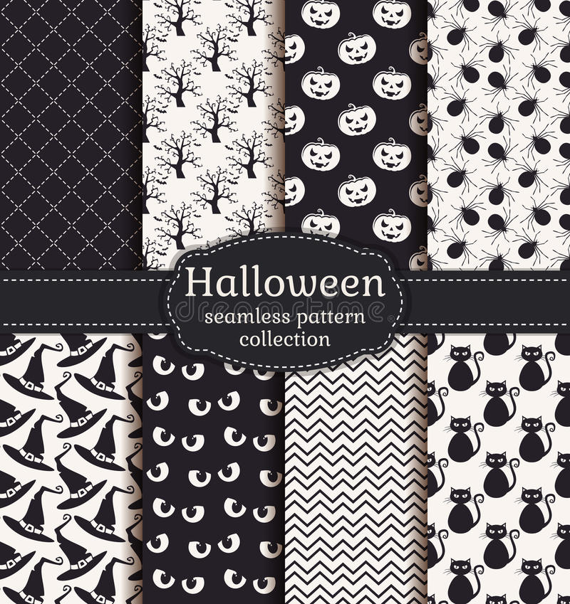 Testes padrões sem emenda de Halloween Grupo do vetor ilustração royalty free