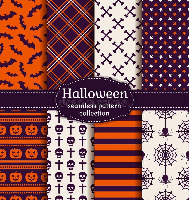 Testes padrões sem emenda de Halloween Grupo do vetor ilustração do vetor