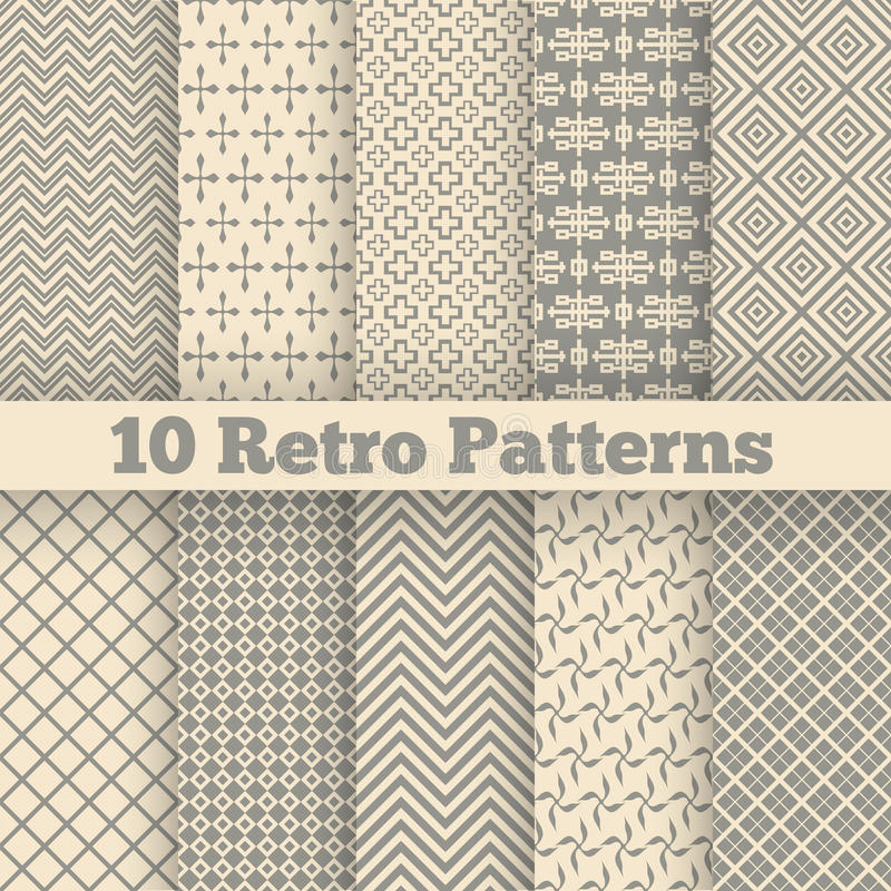 Testes padrões sem emenda diferentes retros Vetor ilustração royalty free