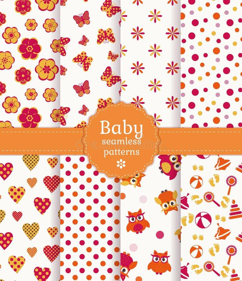 Testes padrões sem emenda do bebê colorido. Grupo do vetor. ilustração royalty free
