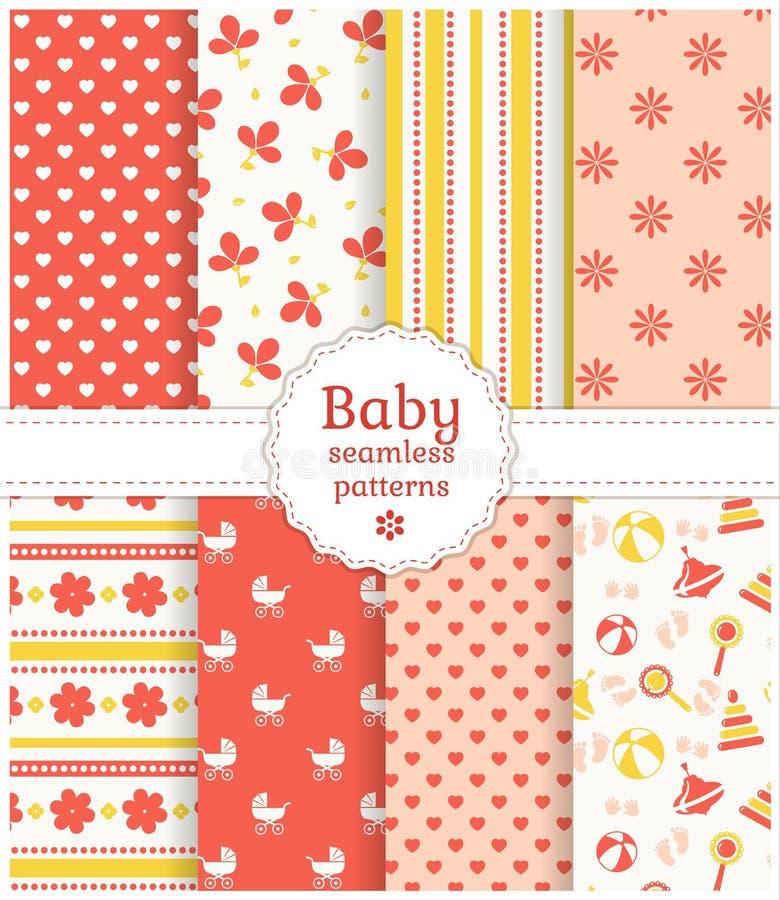 Testes padrões sem emenda do bebê. Grupo do vetor. ilustração do vetor